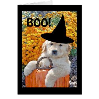 Cartão de nota engraçado da bruxa do filhote de