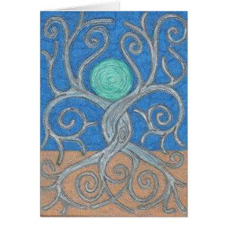 Cartão de nota entrelaçado das árvores