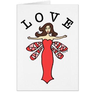 Cartão de nota feericamente do amor da libélula