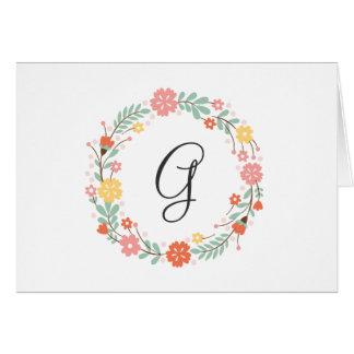 Cartão de nota floral do monograma
