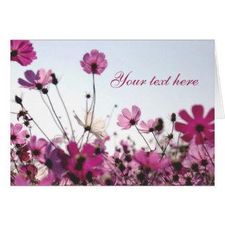 Cartão de nota fúcsia da camomila (customizável)