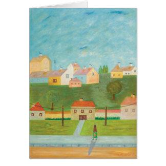 Cartão de nota húngaro da cena da vila