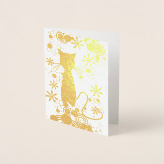 Cartão de nota interno do vazio da folha do gato