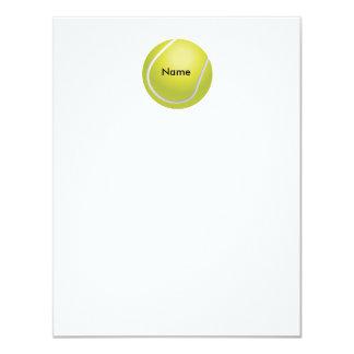Cartão de nota liso personalizado da bola de tênis convites personalizados