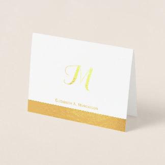 Cartão de nota luxuoso do monograma da folha de