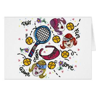 Cartão de nota - meninas do tênis
