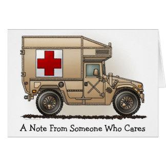 Cartão de nota militar da ambulância de Hummer