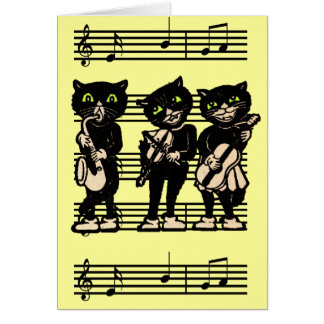 Cartão de nota musical dos gatos pretos