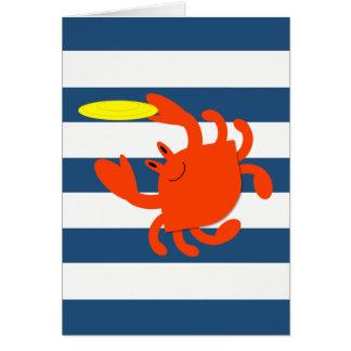 Cartão de nota náutico do caranguejo do Frisbee do