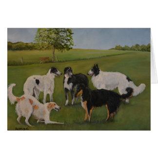 Cartão de nota original da arte do cão do tempo do