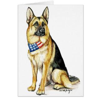 Cartão de nota patriótico da arte do cão de german