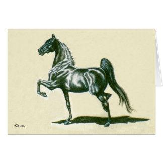 Cartão de nota preto do cavalo de Saddlebred do