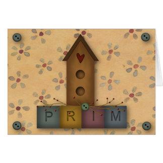 Cartão de nota primitivo do Birdhouse