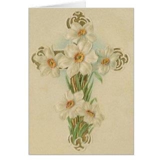 Cartão de nota religioso da páscoa do vintage