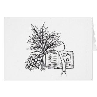 Cartão de nota religioso dos símbolos