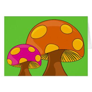 Cartão de nota retro customizável dos cogumelos