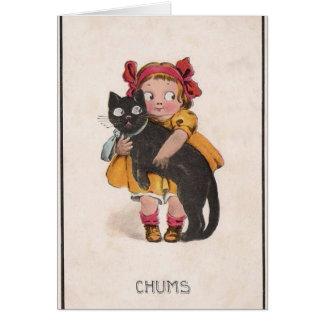Cartão de nota retro do gato