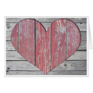 Cartão de nota rústico do coração