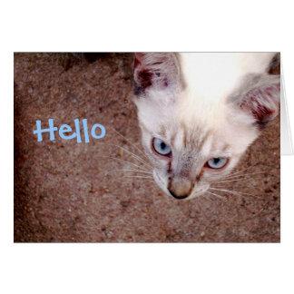 """Cartão de nota Siamese do gatinho """"olá! """""""