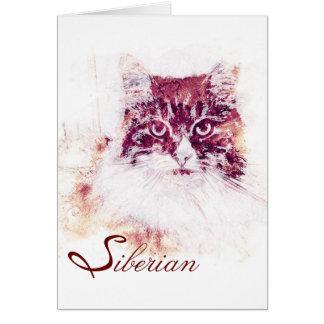 Cartão de nota Siberian do gato dos trabalhos