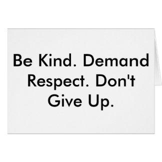 Cartão de nota sobre a bondade, o respeito & a