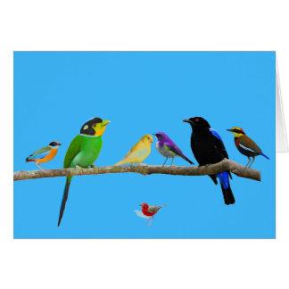 cartão de nota vazio com pássaros e cor