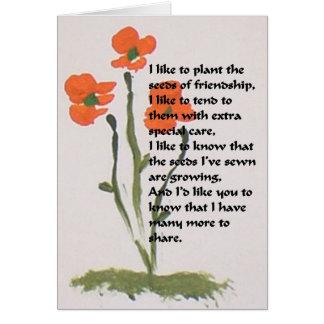 Cartão de nota vazio da amizade