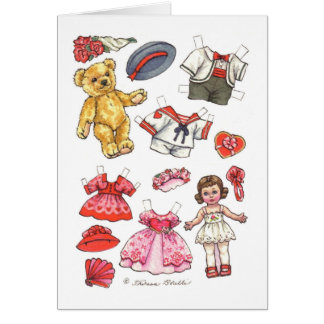 Cartão de nota vazio da boneca & do ursinho