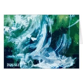 Cartão de nota vazio da cachoeira com arte