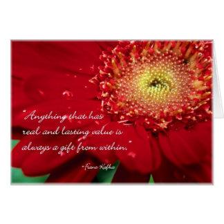 Cartão de nota vazio da flor com citações de Franz