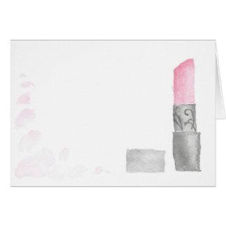 Cartão de nota vazio do batom da aguarela
