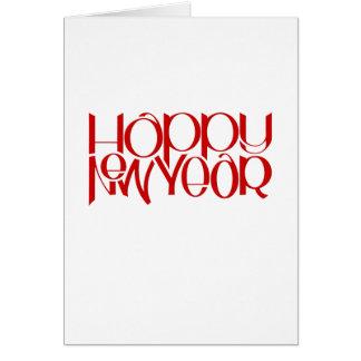 Cartão de nota vermelho do feliz ano novo