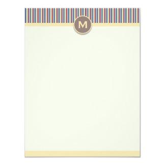 Cartão de nota vertical das listras brilhantes convite 10.79 x 13.97cm