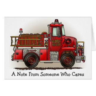 Cartão de nota voluntário do carro de bombeiros