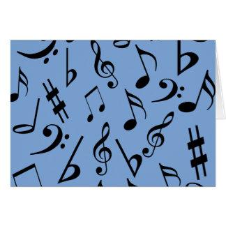 Cartão de notas musicais - azul