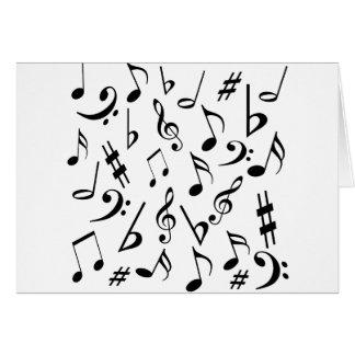 Cartão de notas musicais - branco e preto