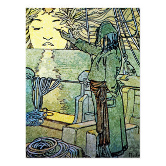 Cartão de Nouveau da arte: Alphonse Mucha - Sun