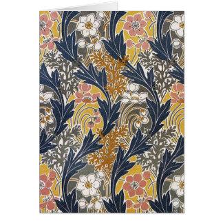 Cartão de Nouveau da arte das flores e das folhas