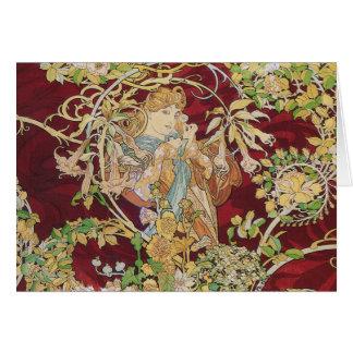 Cartão de Nouveau da arte de Mucha: Mulher com