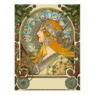 Cartão de Nouveau da arte de Mucha - zodíaco -