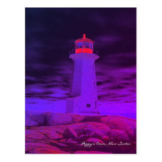 Cartão de Nova Escócia do farol da angra de Peggy