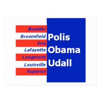Cartão de Obama Udall Boulder