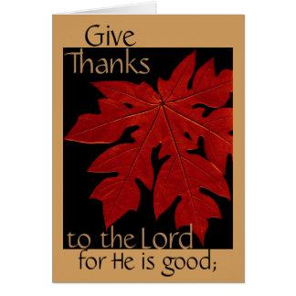 Cartão Dê obrigados ao senhor Acção de graças Oração