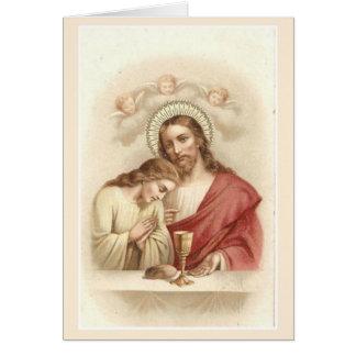 Cartão de oferecimento maciço católico de Jesus St