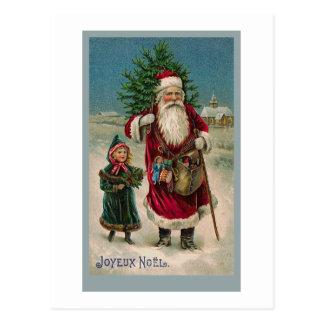 Cartão de Papai Noel do francês do vintage