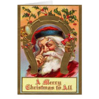 Cartão de Papai Noel do vintage