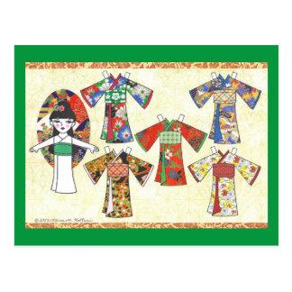 Cartão de papel da boneca de Kokeshi da menina do