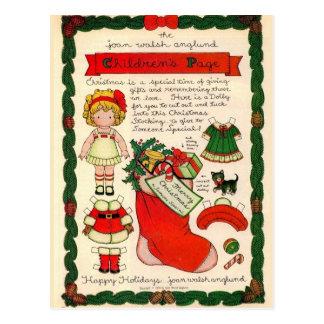 Cartão de papel da boneca do natal vintage