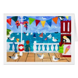 Cartão de papel da colagem do beira-mar