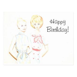 Cartão de papel do aniversário da boneca do
